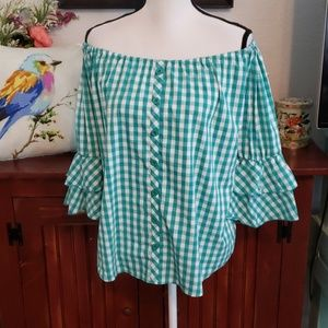 Grand & Greene Checkered Blouse Size Large
